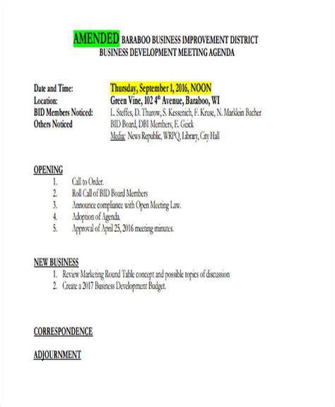 business development meeting agenda template 10 business meeting agenda exles sles
