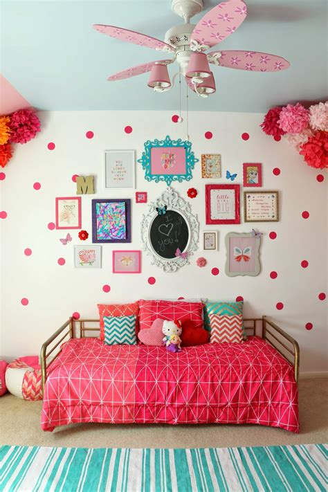 pink and white polka dot room a kailo chic gallery wall wednesday madeline s pink polka dot room