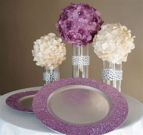 how to make cheap centerpieces amethyst purple glitter charger plate this is just a picture but it would be really easy to