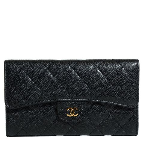 Chanel Quilted Wallet by Chanel Caviar Quilted Large Flap Wallet Black 100581