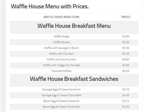 waffle house waffle price best 25 waffle house menu prices ideas on pinterest