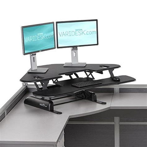 height adjustable standing desk for cubicles varidesk cube corner 48 height adjustable standing desk