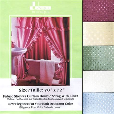 double swag fabric shower curtains fabric shower curtain double swag with liner 70 quot x 72 quot