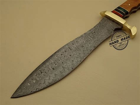 Professional Kitchen Knives Professional Damascus Bowie Knife Custom Handmade Damascus