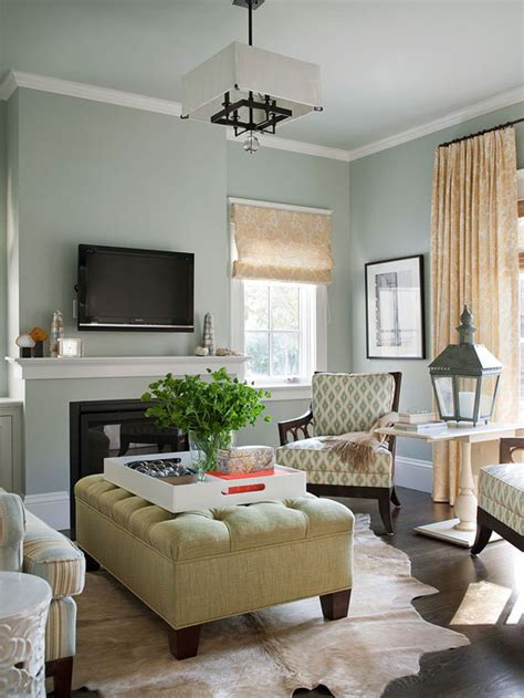 Green Tufted Ottoman Cottage Living Room Bhg