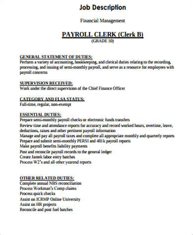 payroll clerk job description for resume resume ideas