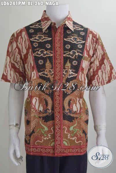 baju batik motif naga kemeja batik lengan pendek mewah