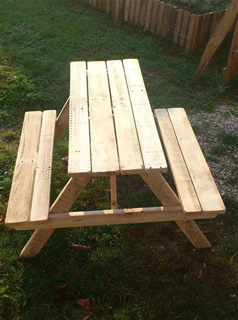 picnic bench out of pallets build pallet picnic table with backrest 99 pallets