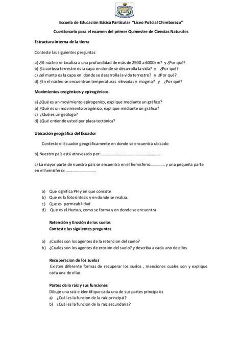 respuestas del examen del ciencias naturales 6 grado bimestre 1 2016 2017 cuestionario para el examen del primer quimestre de