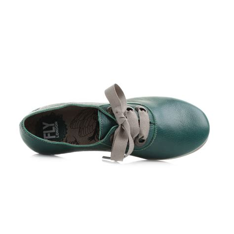 Flat Shoes Fly womens fly fa mousse nile green leather flat lace