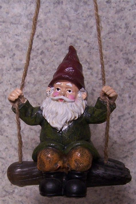 swinging gnome garden accent swinging gnome with a hand fork new ebay