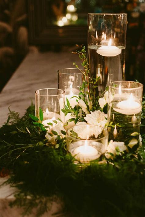This Couple Threw An Outdoor Barbecue Wedding In Brooklyn Wedding Table Candle Centerpieces