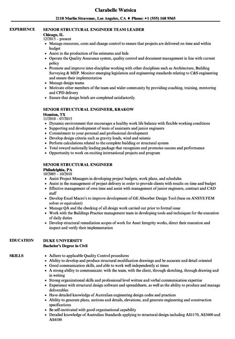 Structural Engineer Resume by Senior Structural Engineer Resume Sles Velvet