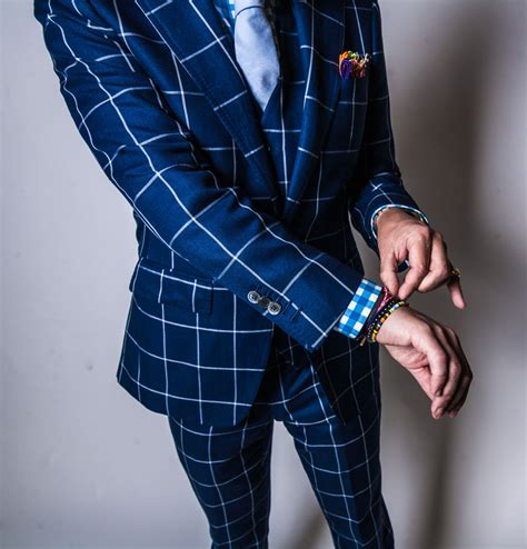 blue pattern suit dressing for the holiday party garrison bespoke