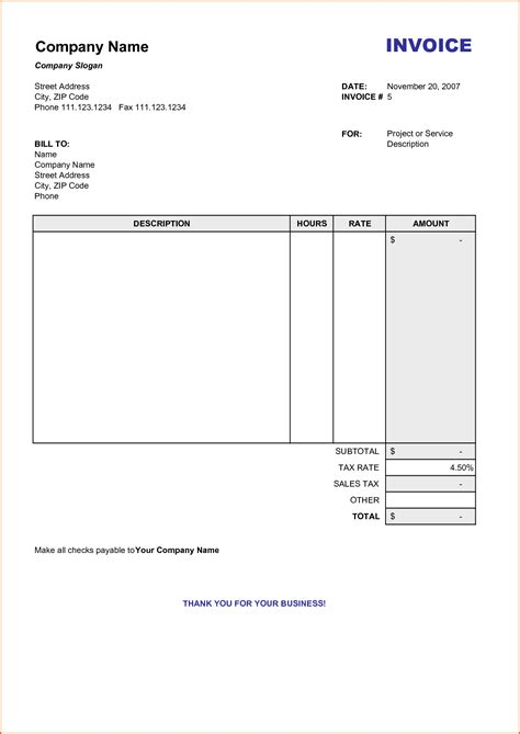 free bill invoice template printable 10 free printable invoice templates