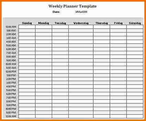 hourly calendar free printable hourly schedule planner