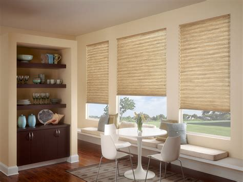 Window Treatments For Bay Windows In Dining Room by Pleated Shades Accent Blinds Amp Shutters Rogers Ar