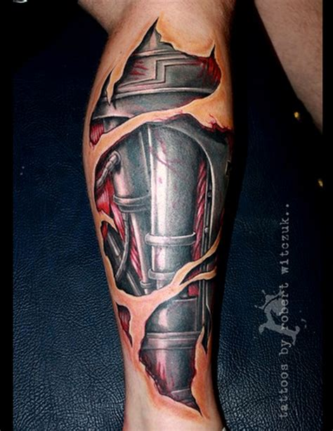 pictures of 3d tattoos 3d realistic tattoos 3d mechanical realistic leg