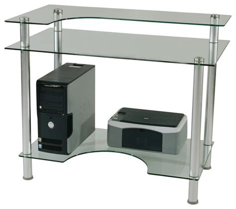 Tier One Designs Clear Glass Computer Desk With Monitor Clear Glass Computer Desk