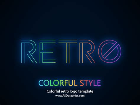 colorful retro logo template psd psdgraphics