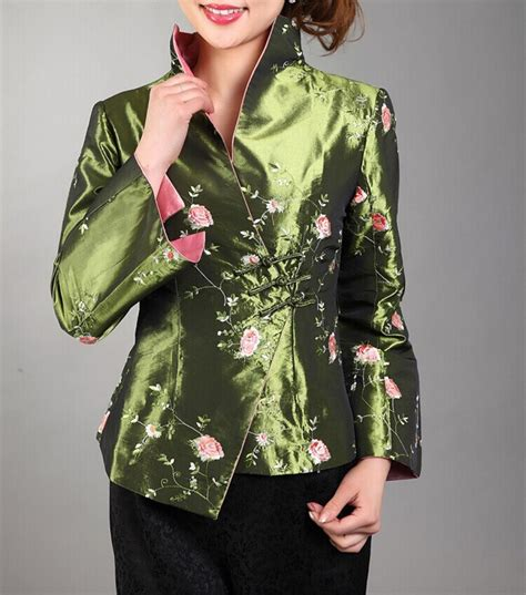 Green Bird Embroidered Sweater Size S M L green traditional style s silk satin embroidery jacket coat mujere chaqueta