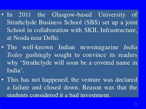 Strathclyde Business School Mba Fees by Indian Higher Education Globalization