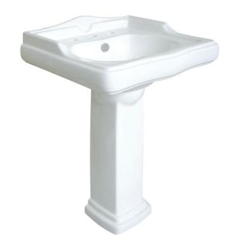 kingston brass pedestal combo bathroom sink in white