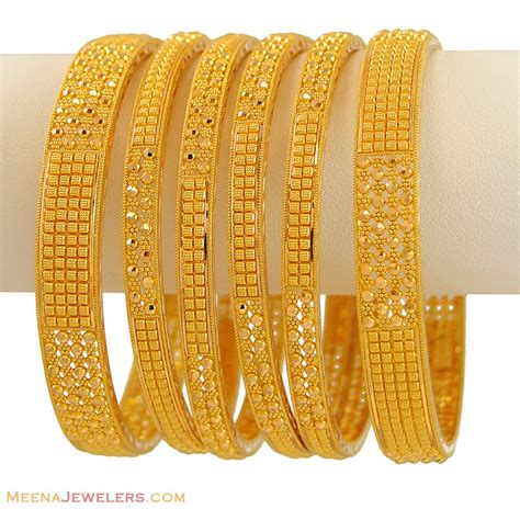 Handmade Gold Bangles - indian filigree bangles set 6 pcs bago9477 22k gold