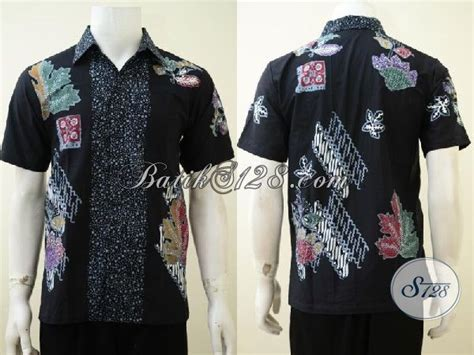 Celana Hitam Buat Kerja kemeja batik hitam proses cap tulis dengan motif modern