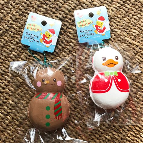 Squishy Licensed Snowman Squishy sammy and gingerbread the macaron squishy nic
