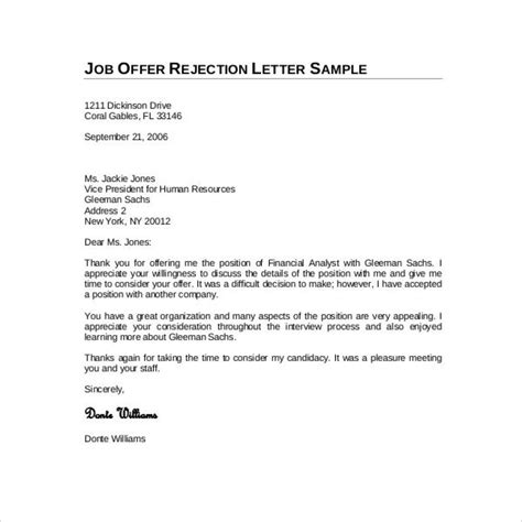 Declining A Offer Letter Due To Salary best letter declining offer letter format writing
