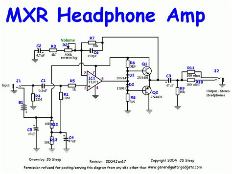 transistor headphone lifier schematic this is the schematic of mxr headphone for guitar description from groupdiy i searched