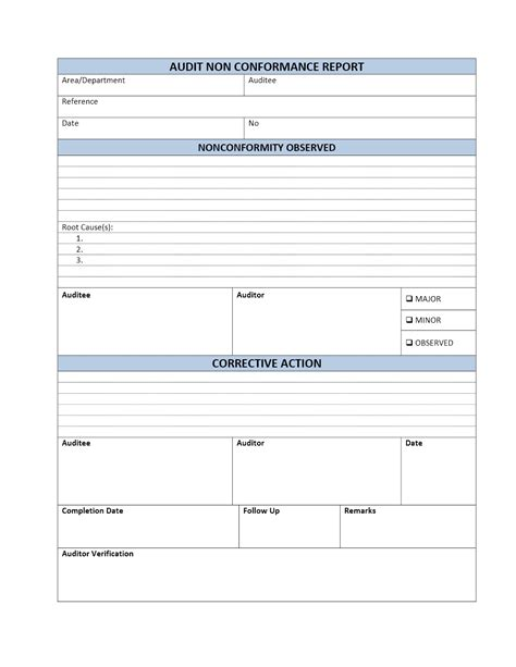 compliance form template audit non conformance report