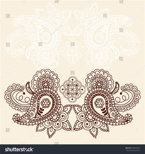 indian wedding doodle doodle floral border abstract stock