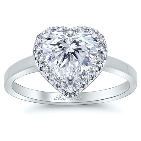 halo engagement ring with plain band