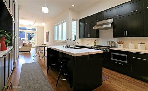 dark kitchen cabinets with white and carrera marble i kitchen 12 awesome black and white kitchen design ideas