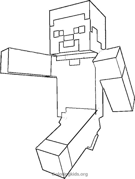 Minecraft Steve Coloring Pages Free | steve minecraft coloring kids