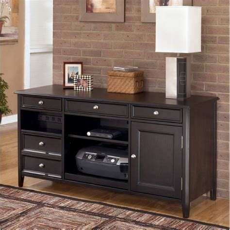 ashley carlyle large credenza in almost black h371 46