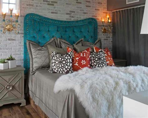 tufted teal headboard eclectic no place like home