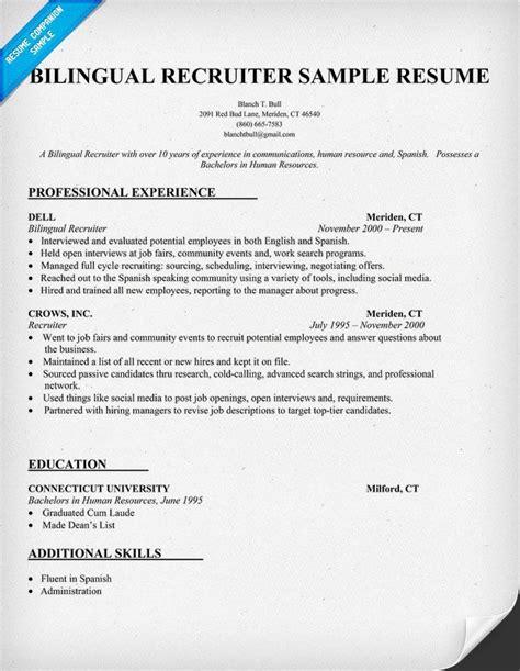 Bilingual Resume by Resume Format Resume Sles Bilingual