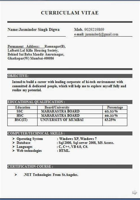 bsc computer science resume format bsc it resume format