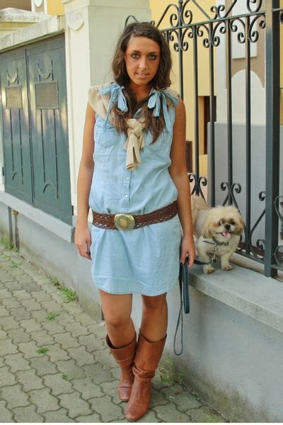 blue jean dress with boots blue h m dresses brown made in marrakech belts brown no