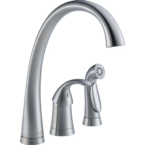 kitchen delta faucets delta faucet 4380 ar dst pilar arctic stainless one handle with sidespray kitchen faucets