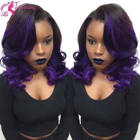 purple lace front bob wigs for black women glueless full lace ombre wigs human hair brazilian body