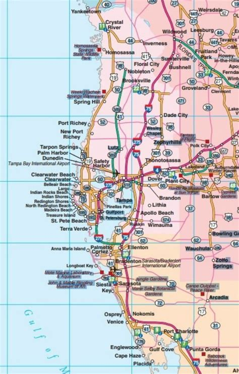 west coast map west coast map of florida central west florida road map showing main towns cities