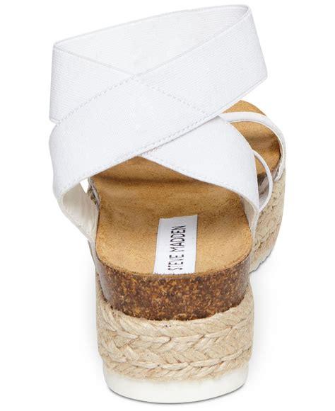 Steve Madden Steve Madden Kimmie Flatform Espadrilles by Lyst Steve Madden Kimmie Flatform Espadrille Sandals In White