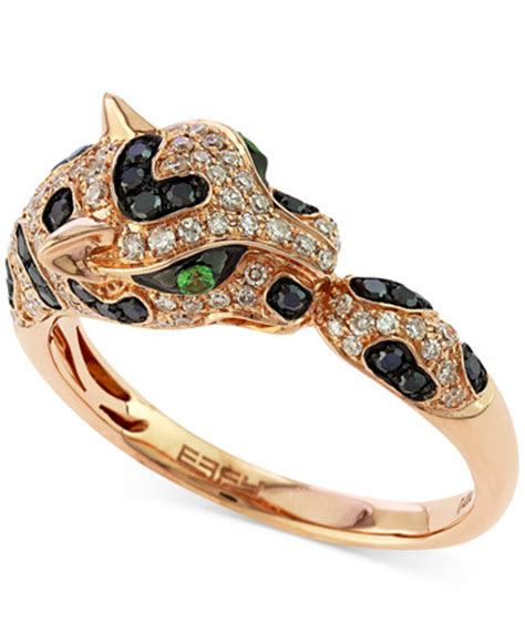 Effy Jewelry Sweepstakes - effy diamond 1 2 ct t w and emerald accent panther ring in 14k rose gold rings