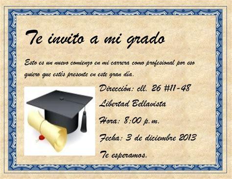 invitacion de graduacion en espanol tarjetas de invitaci 243 n de graduaci 243 n de bachiller imagui