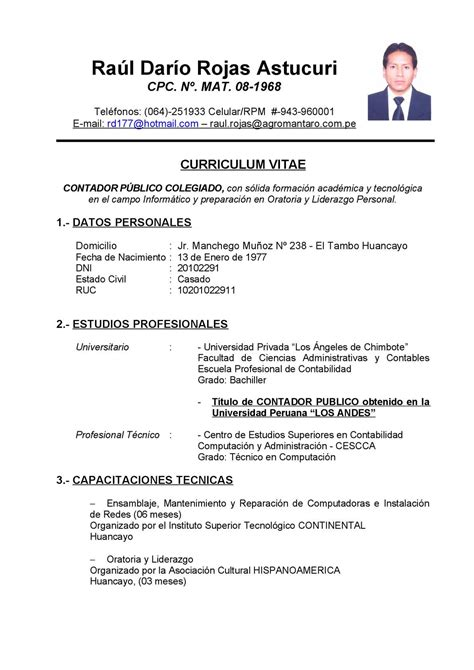 Modelo Curriculum Vitae Contador Publico Calam 233 O La Carta A Dios