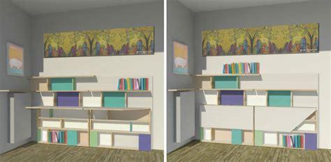 scrivania a muro ribaltabile camerette ragazze come sfruttare lo spazio in modo creativo